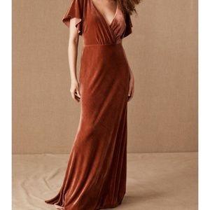 Jenny Yoo Ellis Velvet dress in English Rose